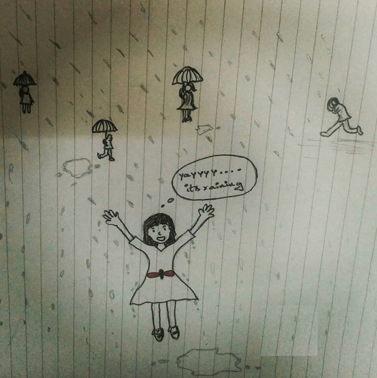 Doodle of the day  -- Rain & ME