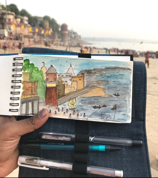 A quick Plein air of Assi Ghat